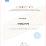 Tim Milne Specialist Grammar Awareness Certificate