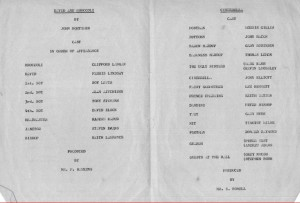 Rokeby School Plays 1973 - Cast List